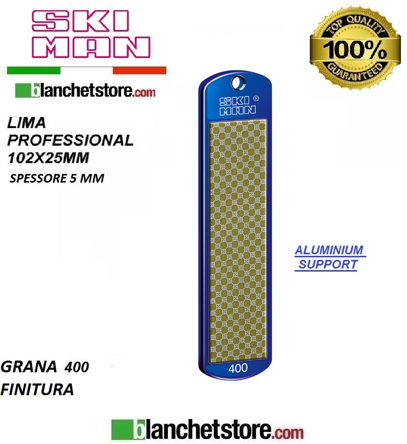 Diamond File Aluminium mm 100 Grana 400 -GIALLO-