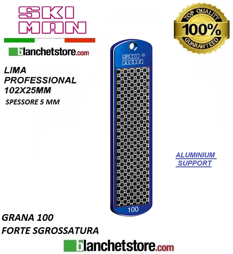 Diamond File Aluminium mm 100 Grana 100 -NERO-