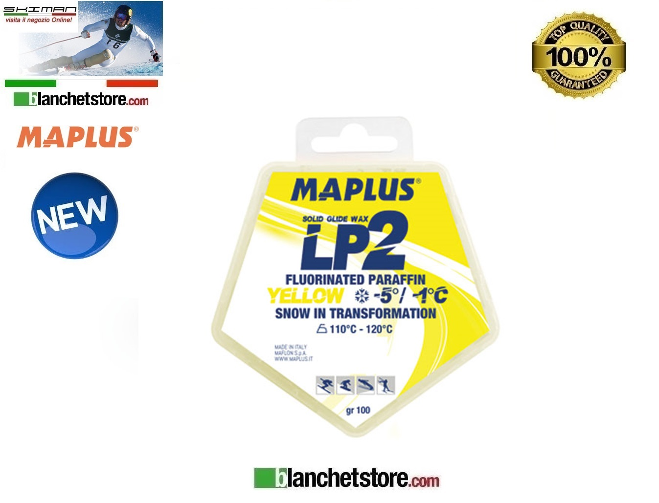 Wax MAPLUS FLUORINATED LP 2 Box 100 gr YELLOW