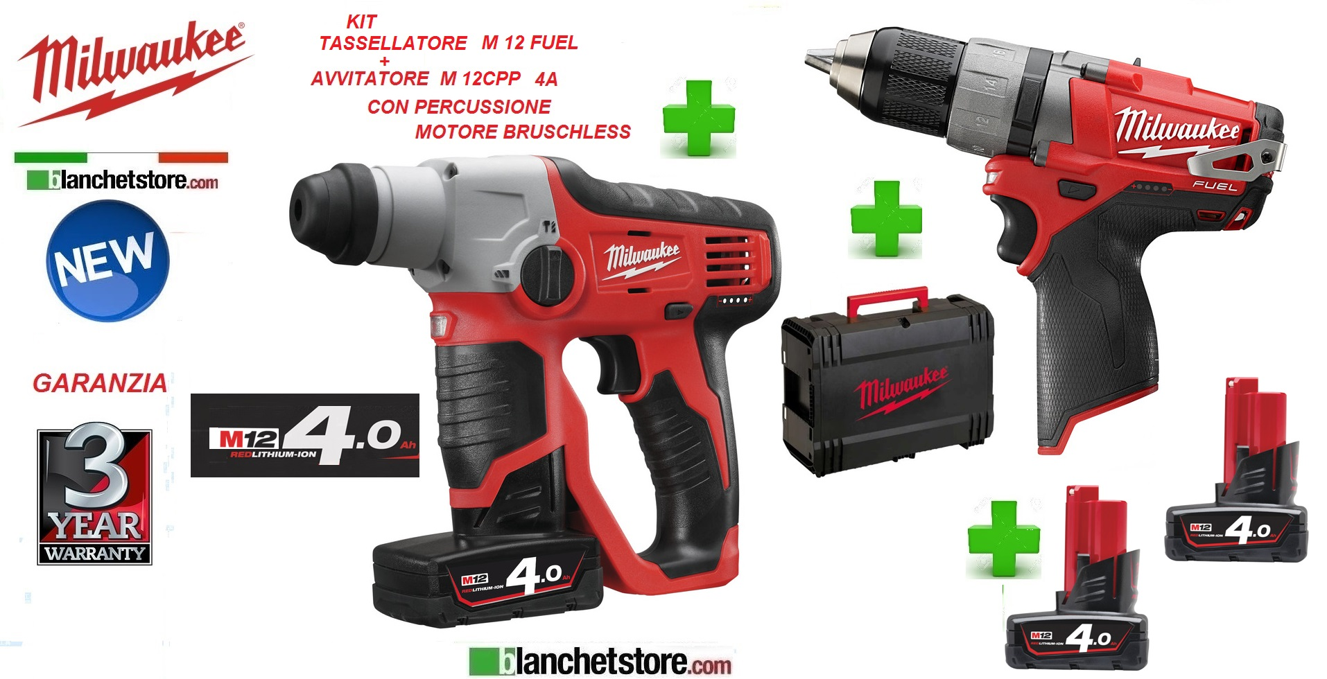 Kit Milwaukee M12Fuel tassellatore+avvitatore Bruschless 12V 4A