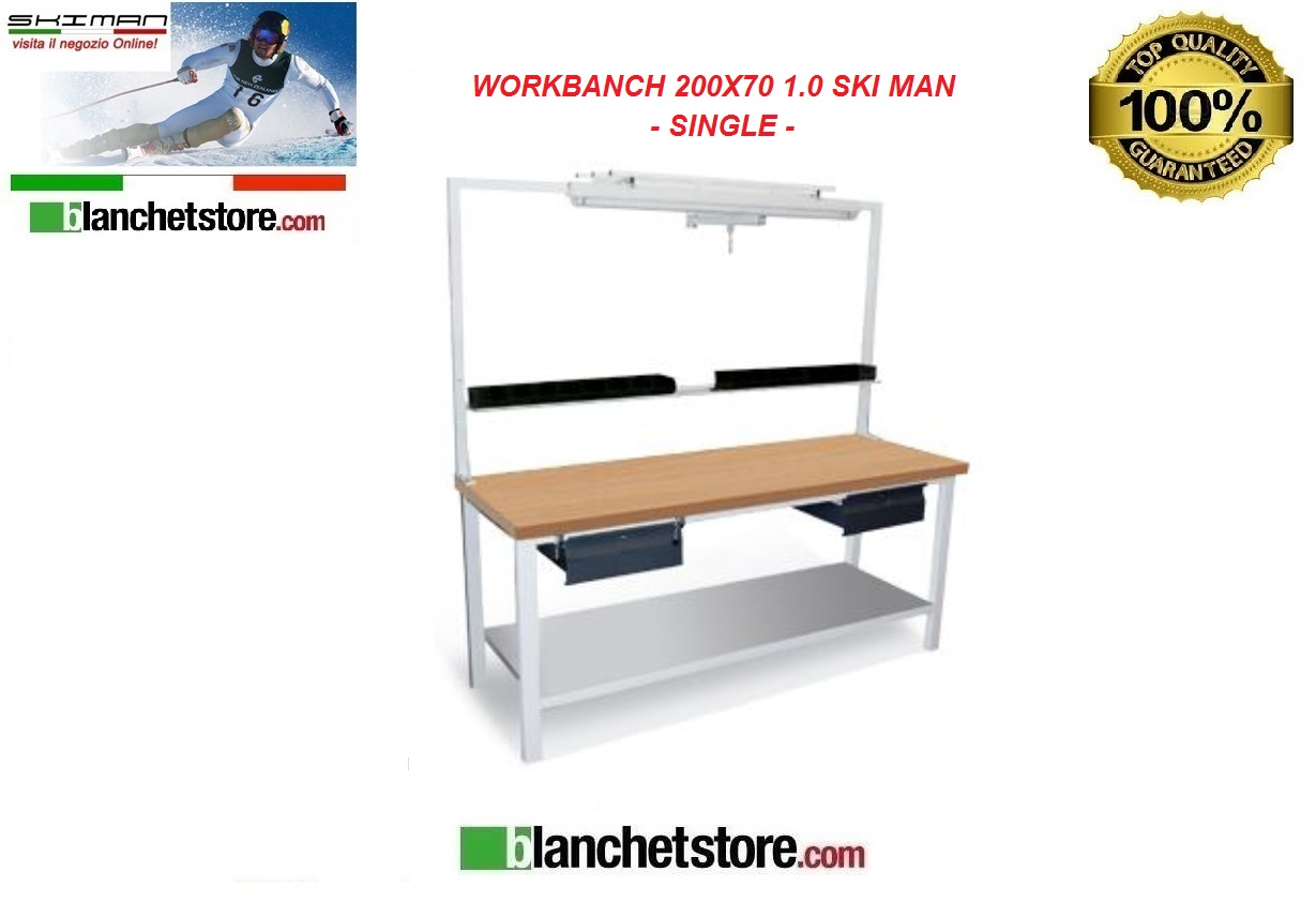 Banco tavolo Ski man Singolo Powerbanch da laboratorio 200x70