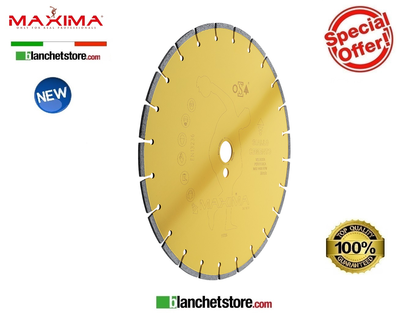 Disco diamantato Giallo Cemento Maxima D.350 foro 25.4 mm