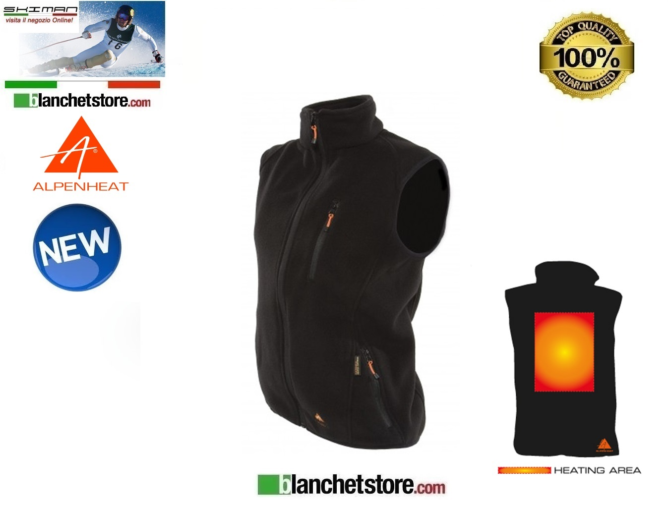Alpenheat Gilet in pile Riscaldato Nero FIRE-FLEECE Tg. XS
