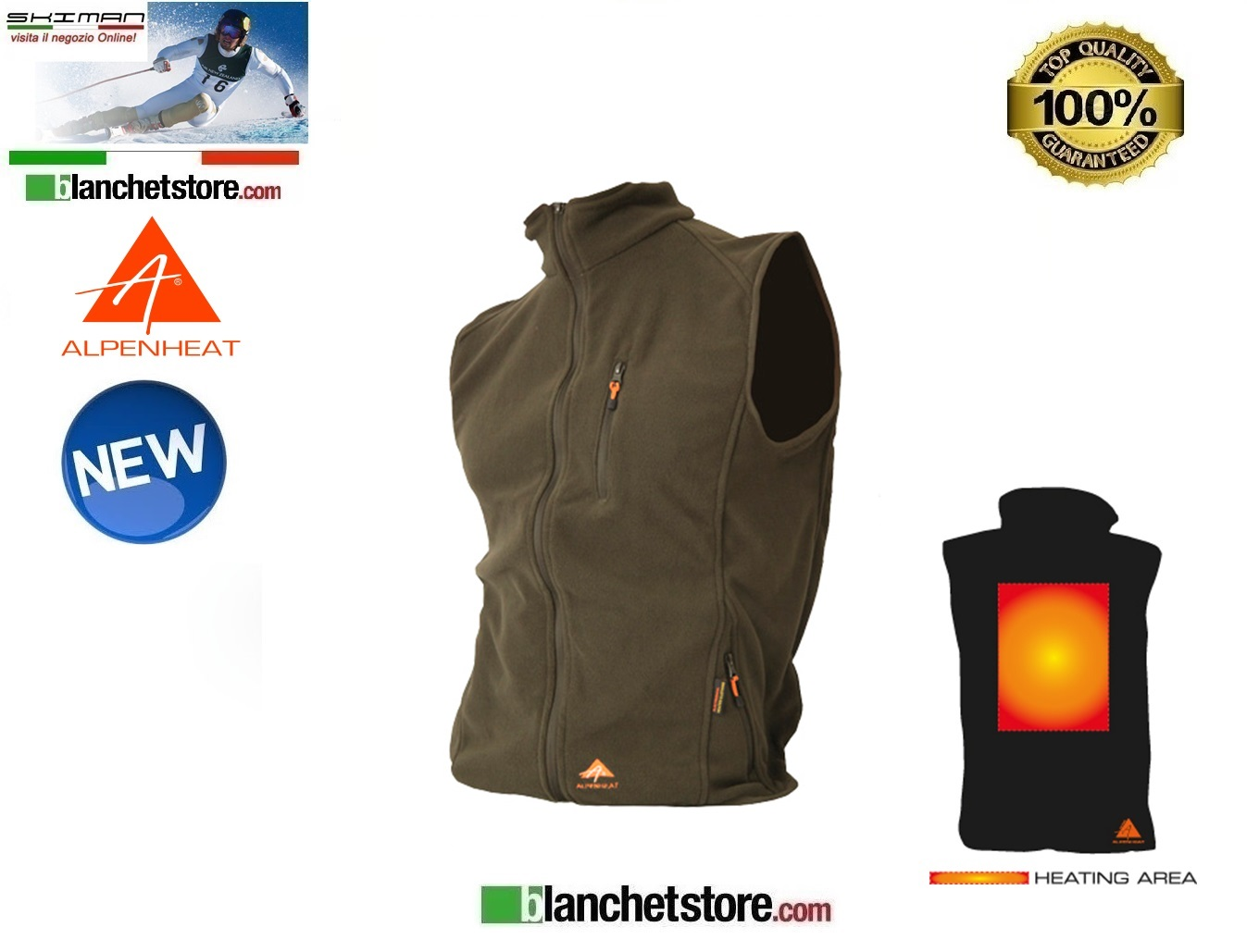 Alpenheat Gilet in pile Riscaldato Verde FIRE-FLEECE Tg. S
