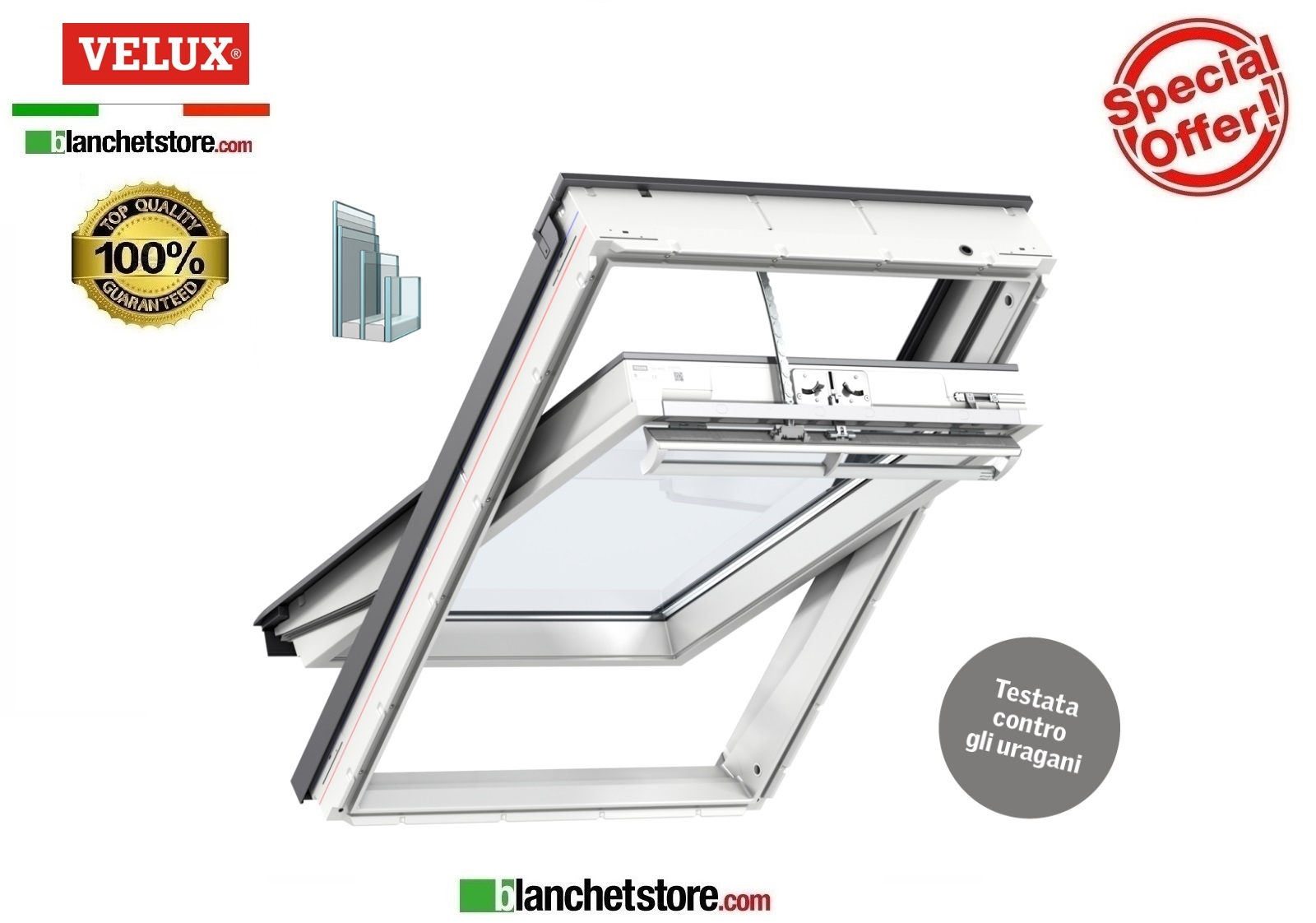 Finestra Velux INTEGRA TRIPLA PROT GGU 008621 UK04 134X98 bianco