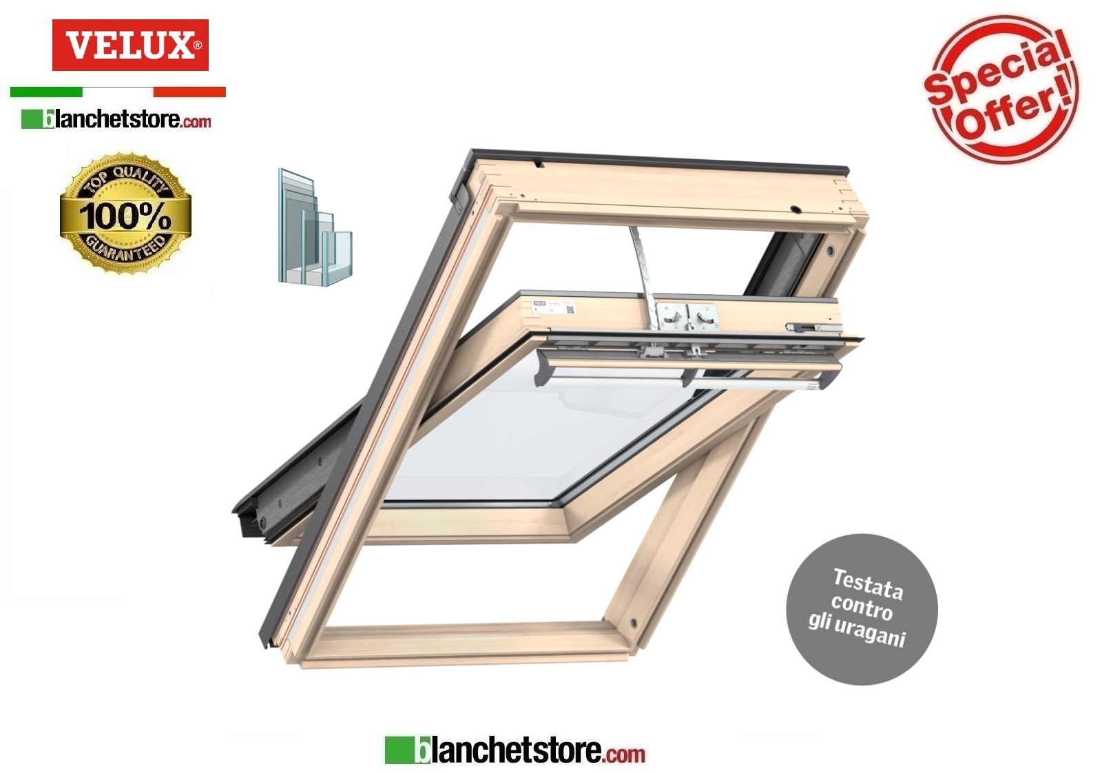Finestra Velux SOLARE ENERGY GGL 306830 SK06 114X118 naturale