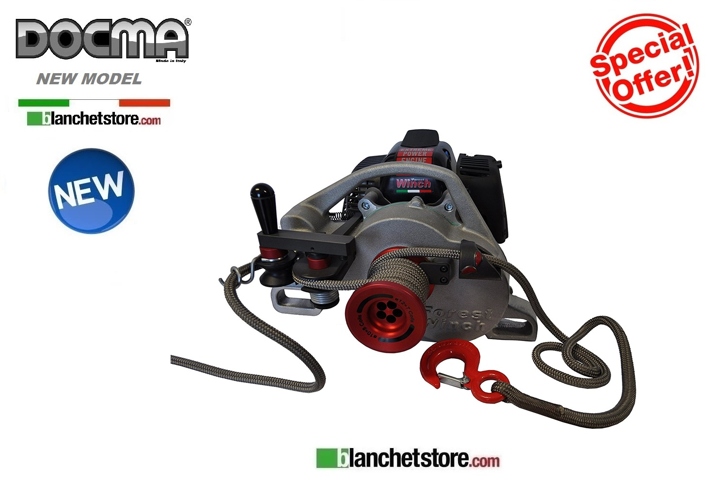 VERRICELLO PORTATILE FOREST WINCH DOCMA VF105 RED IRON+FUNE 100M